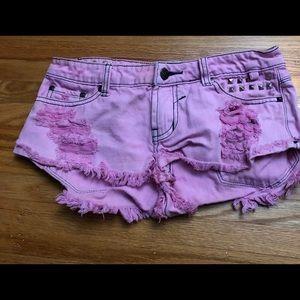Bubblegum pink studded denim shorts, small S